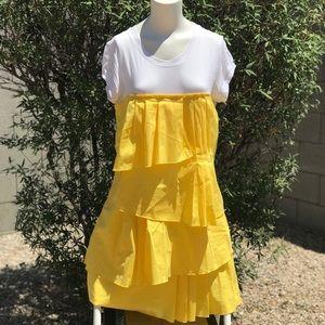 BCBG MaxAzria White and Yellow Dress Layered